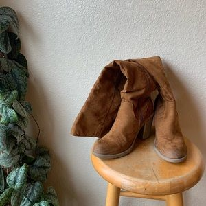 Shoes - Tan Over-The-Knee Boots